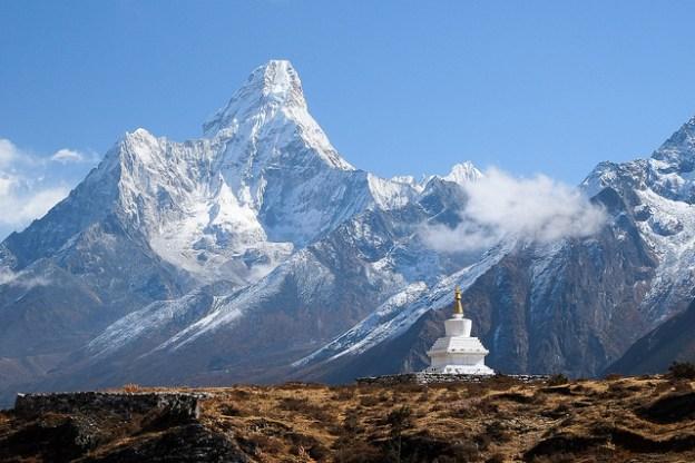 Ama Dablam and stupa near Khumjung