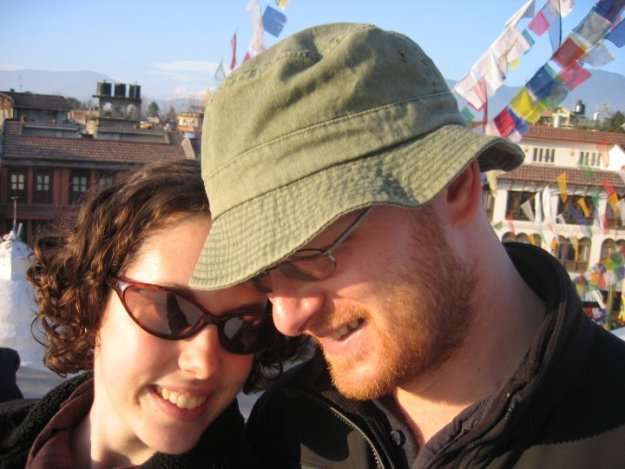 Us on the Boudha stupa in January 2007.