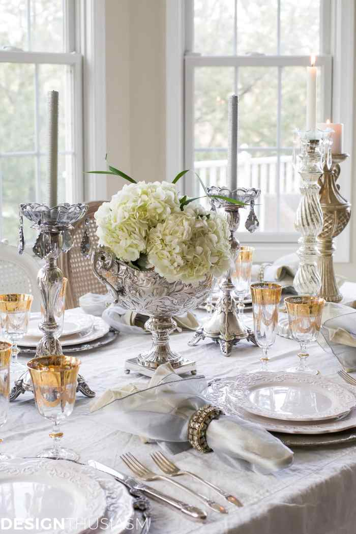 New Year's Day Brunch Table Setting with Gold and Silver-Designthusiasm.com