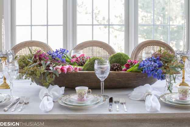 Winter Table: Vintage Dishes with a Dough Bowl Centerpiece