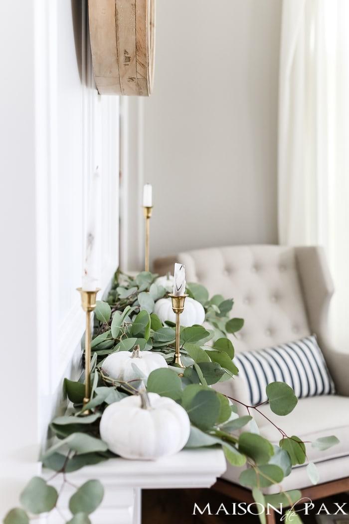 fall decor white pumkins neutral eucalyptus