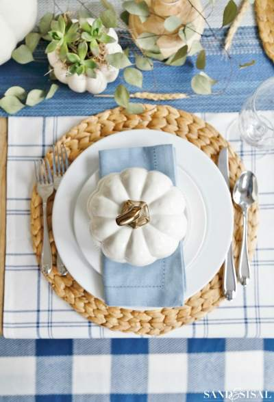 Blue and White Thanksgiving - Sand and Sisal