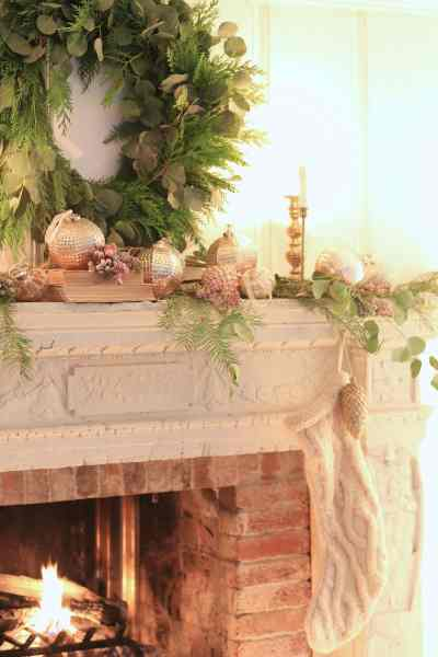 French Country Christmas mantel