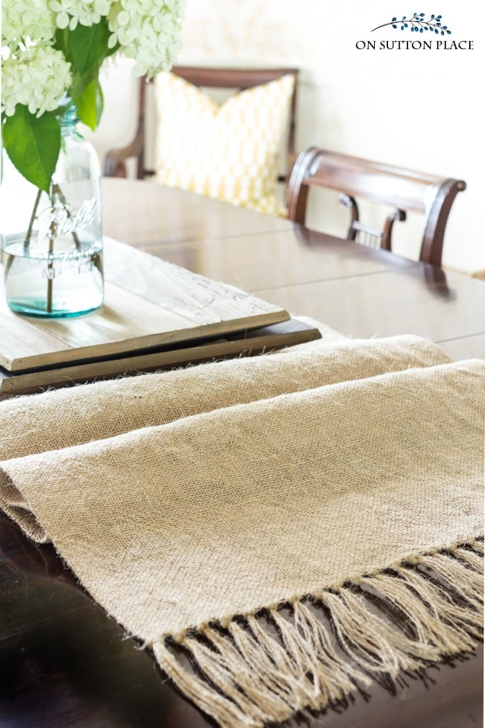 DIY Burlap Runner with Tassels from On Sutton Place