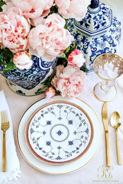 Easter table - pink peonies - ginger jars