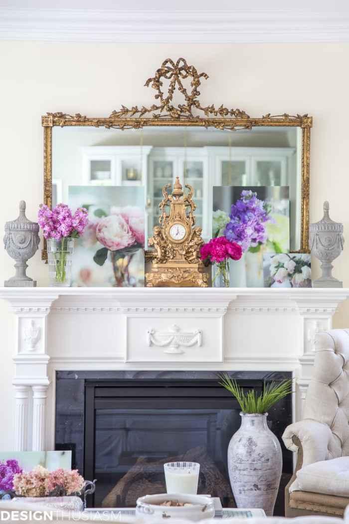 How to decorate a mantel with floral decor - designthusiasm.com