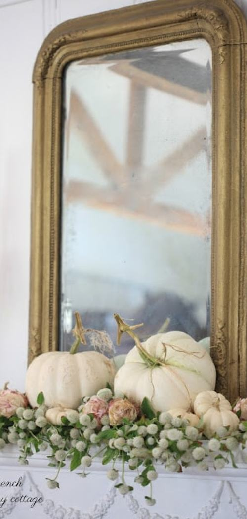 autumn mantel white pumpkins