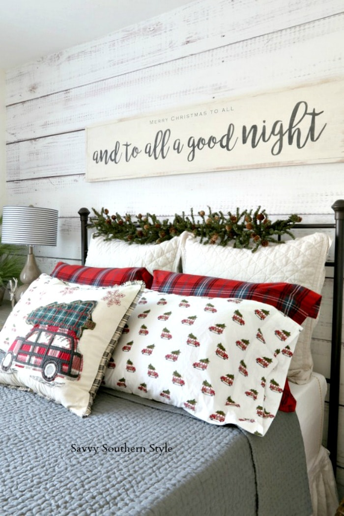 Cozy Christmas Guest Bedroom savvysouthernstyle.net