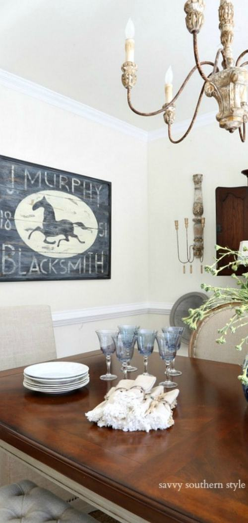blacksmith sign in dining room savvysouthernstyle.net