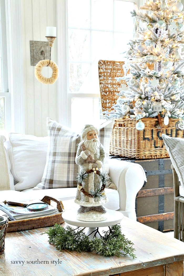 Bethany Lowe Santa in sun room savvysouthernstyle.net