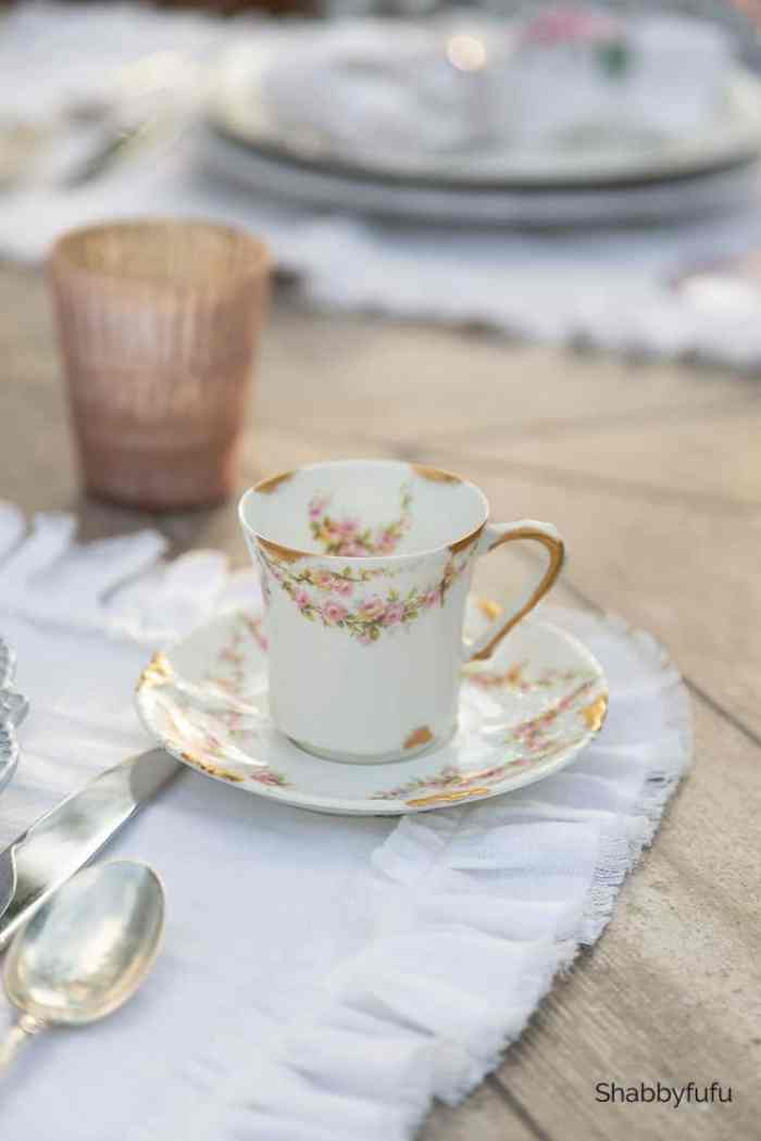 French Dishes In A Vintage Style Tablescape Shabbyfufu