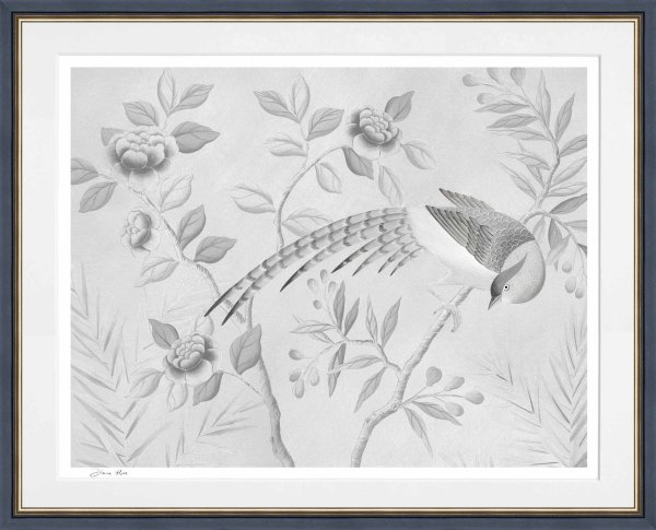 Light Grey Printed Artwork - Bird and Branches