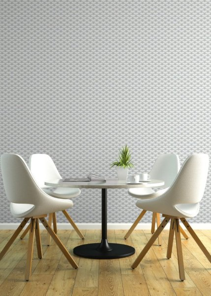 Grey and White wall covering