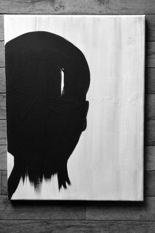 ArtbyDinaD - Black and White Abstract Silhouette - Acrylic Painting - Art by Dina D