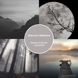Mystical Shade SW 6276 - Inspiration Collage - Moon, Foggy Forest, Hazy Mountains, Misty Dock