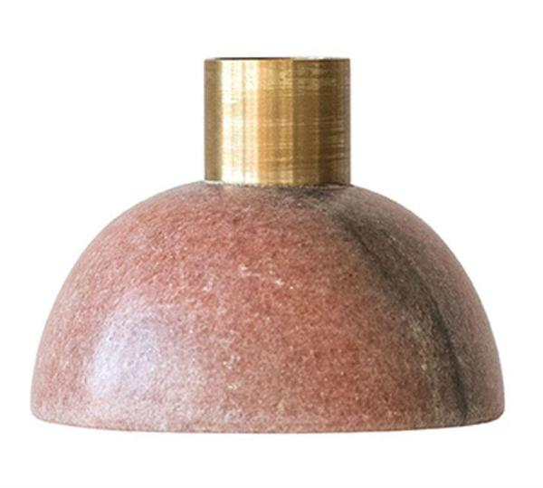 Pink Marble Candle Holder - Stone Decor - Effortless Composition