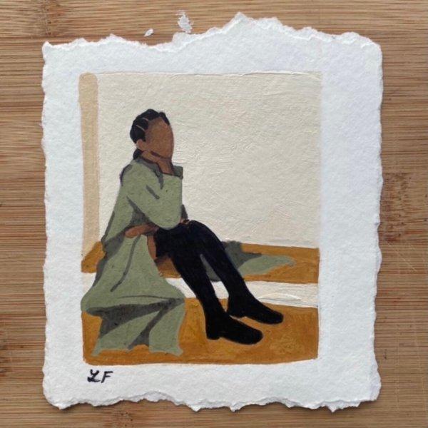 By Lian Rae - Arwork - Original Artwork and Print - Women in Coat - Pewter Green