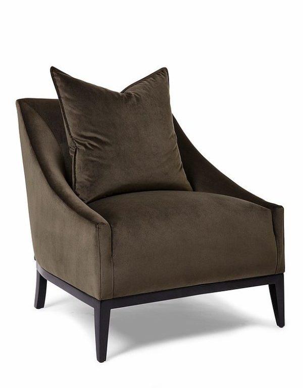 Dark Brown Velvet Transitional Chair