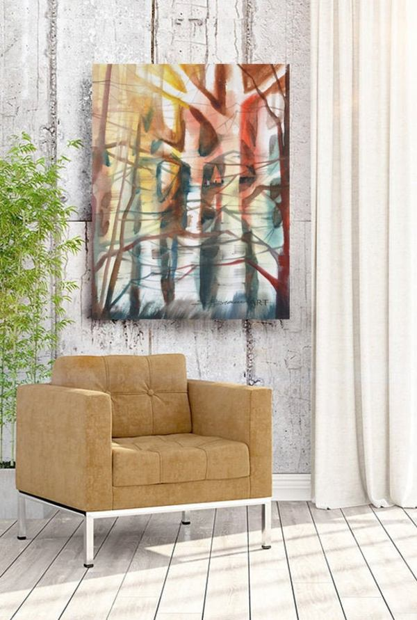 Abstract Canvas Art - Lost in Nature - Tree and Foliage with Earth Tones