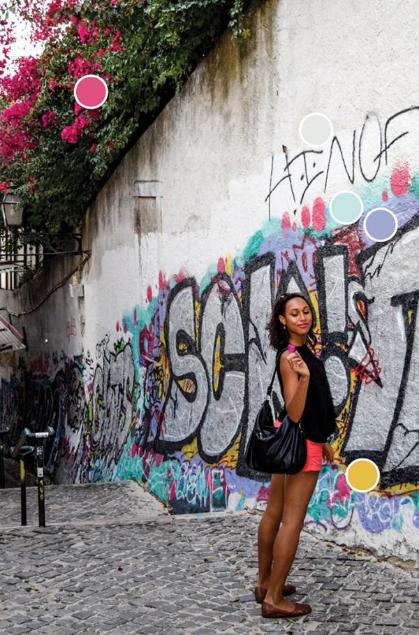 Graffiti Inspired Color Palette - Pink, Yellow, Purple, Gray, Aqua