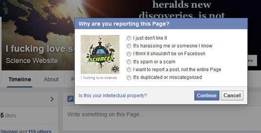 Facebook 的檢舉功能畫面