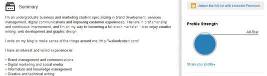 LinkedIn 呈現了視覺化的個人簡介強度(完整度)