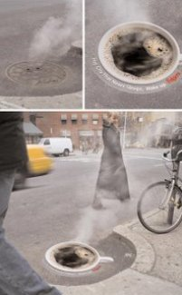 Clever coffee manhole cover