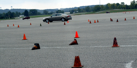GM test drive detroit cones