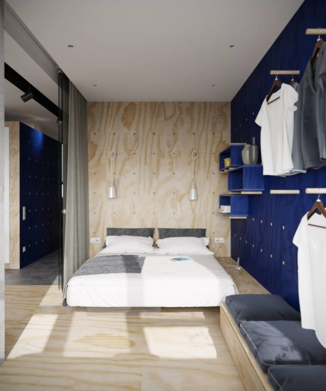 Открытые полки и вешалки в дизайне маленькой спальни