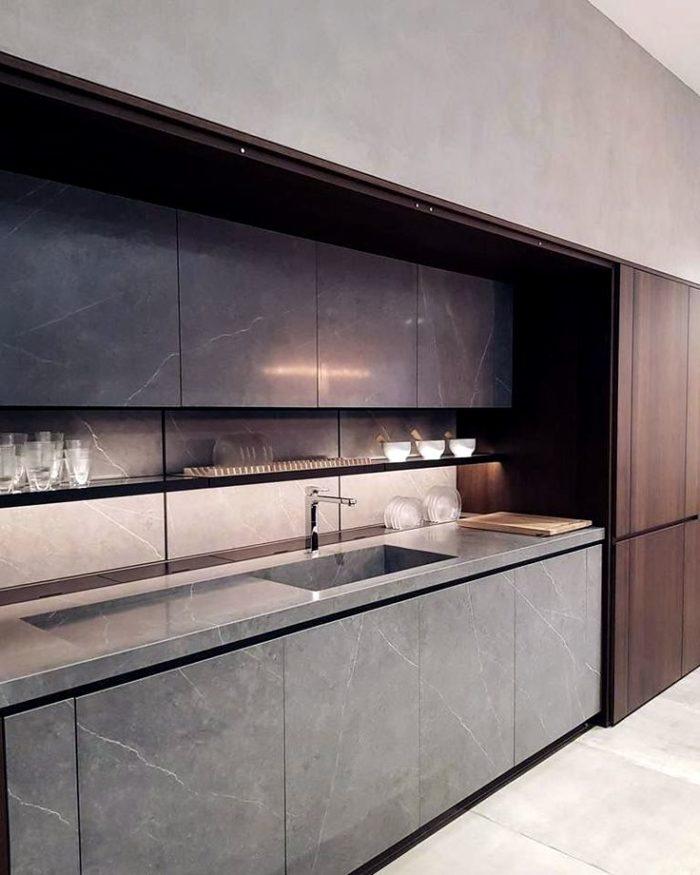 Enkelt modernt köksdesign i lägenheten