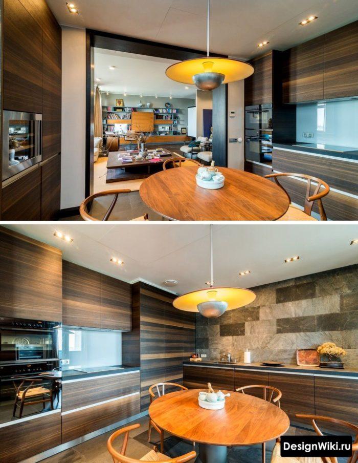 Modern köksdesign i lägenheten utan onödiga föremål