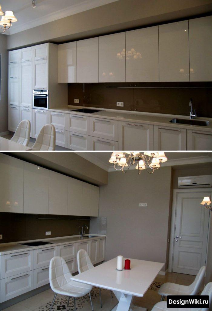 Köksdesign i silverfärg och neoklassisk stil