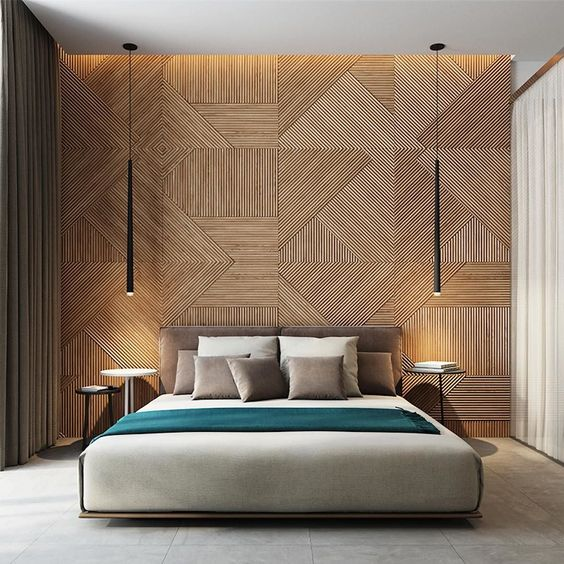 Bedroom-interior-large-curtains-feature-wall