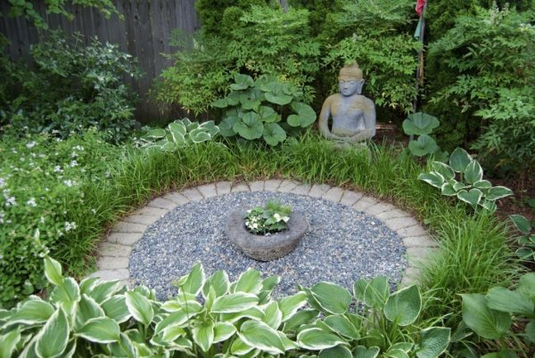 Meditational Buddha In Home Garden