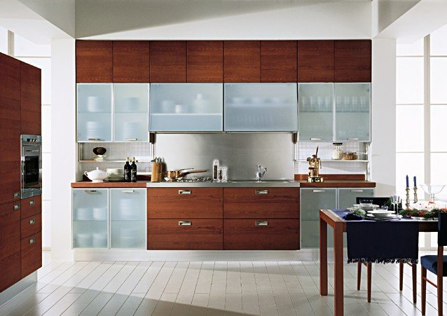 Glass cabinet shutters modular kitchen