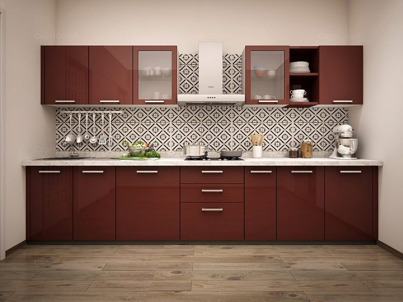Acrylic finished Solid colored kitchen cabinet design
