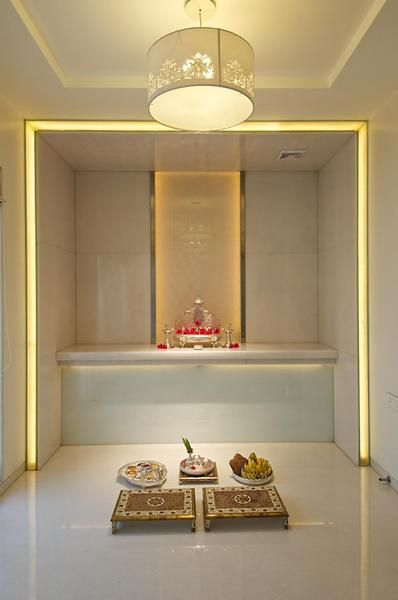 Pooja Room white marble with lighting