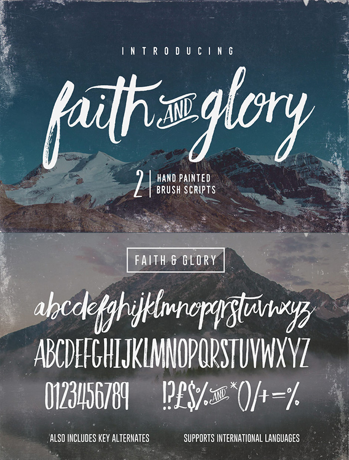 Typographer's Dream Bundle includes 33 fonts for $29, save 99%! Get this set of 2 hand-painted brush script fonts Faith & Glory from Set Sail Studios included.