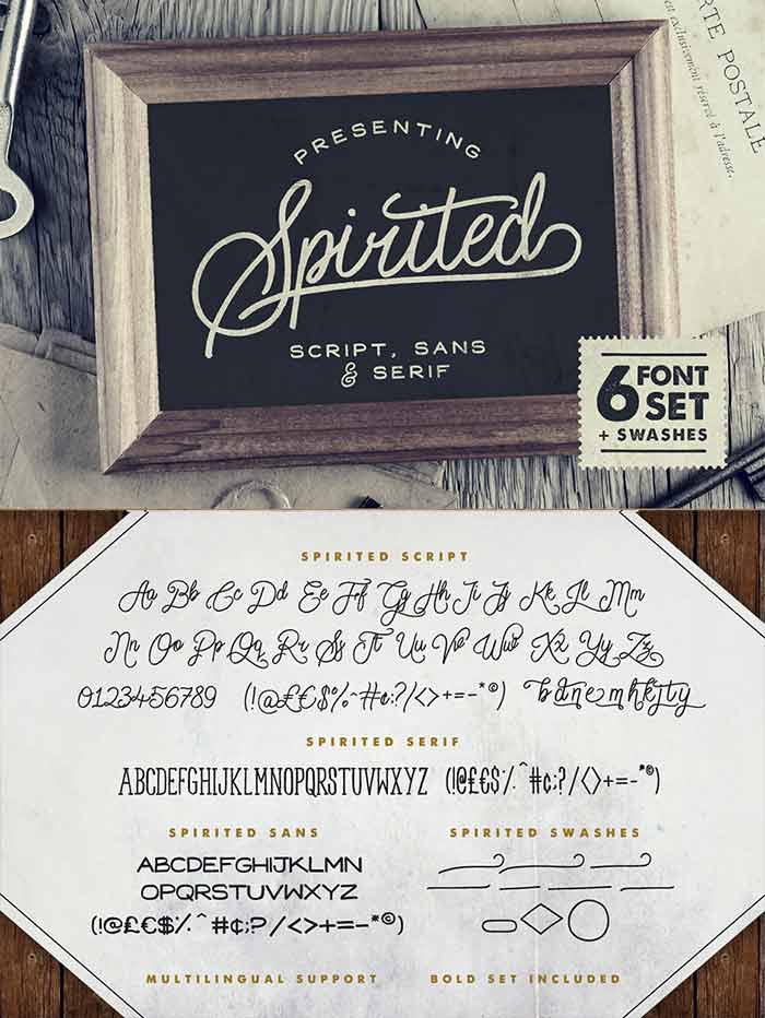 Spirited – 6 Fonts & Swashes from Set Sail Studios is 1 of 20 professional fonts you can get for just $29!