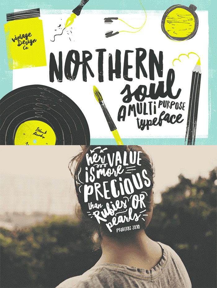 Hand Drawn Design Trend in the Digital Designer's Artistic Toolkit. Northern Soul Typeface from Vintage Design Co. Web fonts included. Learn more on www.DesignYourOwnBlog.com