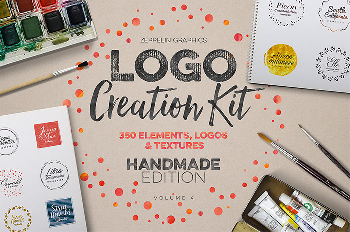 Hand-crafted illustrations bundle! TONS of Watercolor designs included like this amazing handmade logo creation kit! Full licensing included. Grab yours before it's gone! 350 elements, logos and textures to make your own unique logo!
