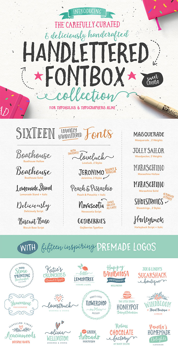 The Handlettered Fontbox from Nicky Laatz and get 24 hand-lettered fonts plus 180 vector illustrations and 12 premade logo templates is included in the DesignCuts font bundle. See more ideas for feminine fonts for your blog in 2016.