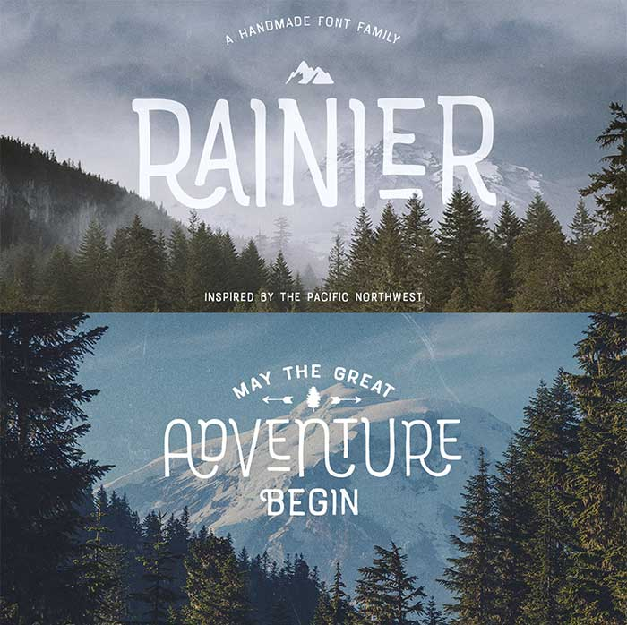 Rainier Font by Kimmy Design, a rustic, grunge, hipster font for your organic, hand-made designs and blogs. One of the font types I recommend for feminine designs in this roundup of 9 feminine font trends for 2016.