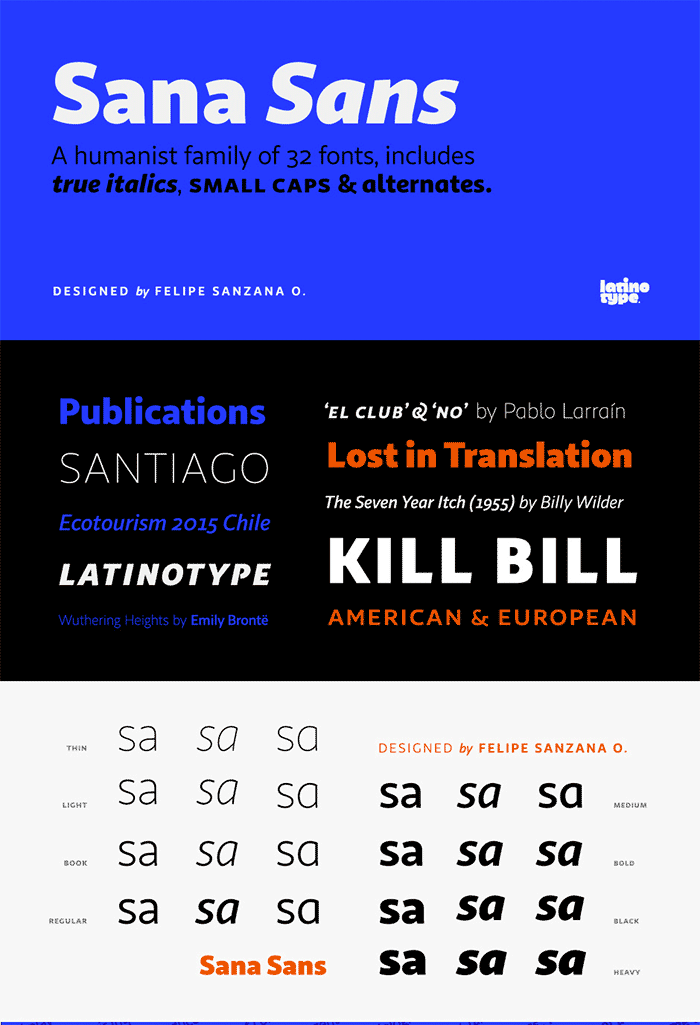Sana Sans by Latinotype, a sans serif font with thin to black weights. One of the thin rounded fonts I recommend for feminine designs in this roundup of feminine font trends for 2016.