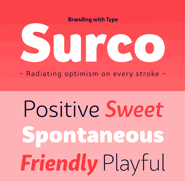 BW Surco by Branding with Type, a sans serif font with thin to black weights. One of the thin rounded fonts I recommend for feminine designs in this roundup of feminine font trends for 2016.