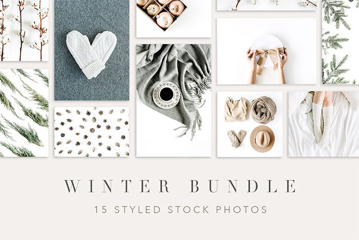 Winter Bundle Styled Stock Photography - roundup of Christmas and holiday graphics for your holiday blog posts and social media posts!