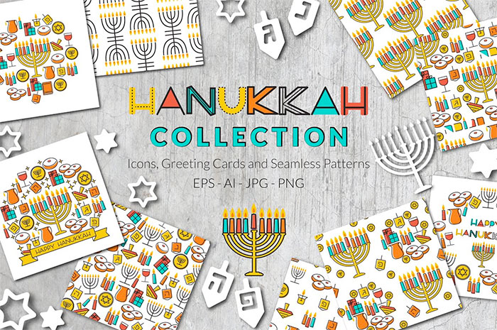 Hannukah Collection: icons, greeting cards, seamless patterns - roundup of Christmas and holiday graphics for your holiday blog posts and social media posts!