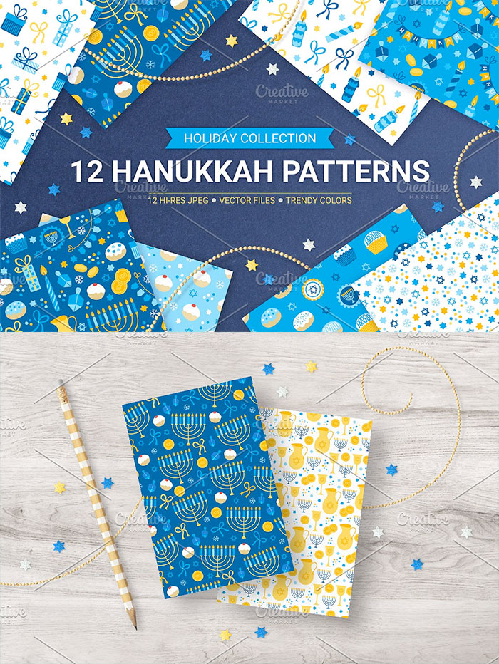 Hannukah graphic patterns - roundup of Christmas and holiday graphics for your holiday blog posts and social media posts!