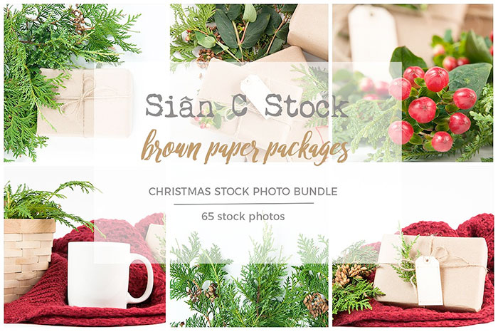 Brown Paper Packages Stock Photo Bundle. Plus a roundup of Christmas and holiday graphics and fonts for your holiday blog posts and social media posts!
