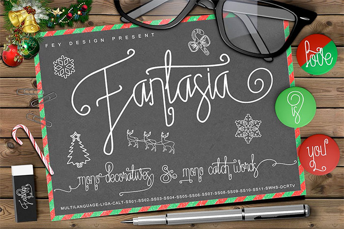 Fantasia Monoline Calligraphy + bonus decoratives and catchwords  - A roundup of Christmas and holiday graphics and fonts for your holiday blog posts and social media posts!